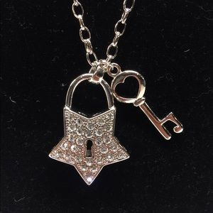 Jewelry - Silver Plated Star Lock and Key Necklace
